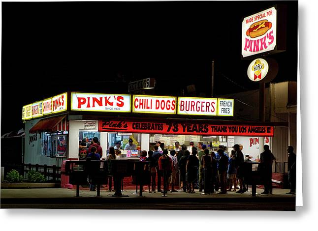Pink's Hot Dogs Of Los Angeles Greeting Card by Mountain Dreams