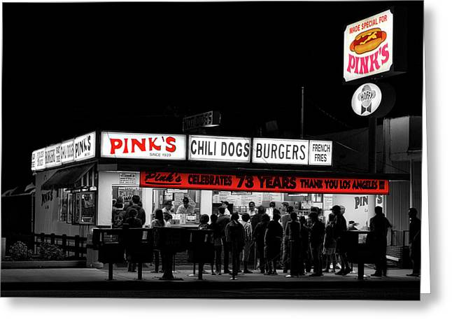 Pink's Hotdogs Of Los Angeles Greeting Card by Mountain Dreams