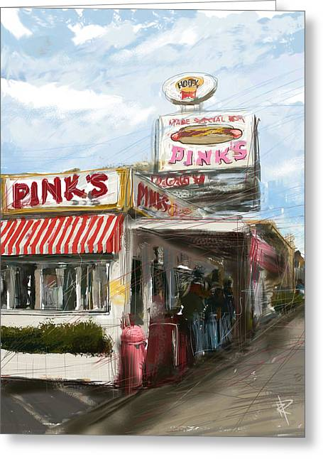 Hot Dog Stand Greeting Cards - Pinks Greeting Card by Russell Pierce