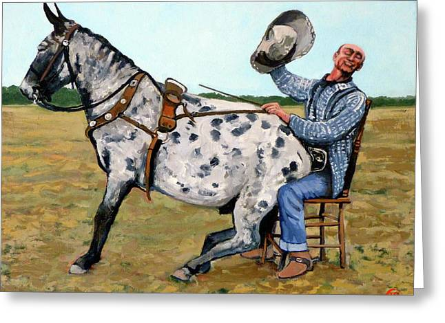 Bucking Bronco Greeting Cards - Pinky and Gert Greeting Card by Tom Roderick