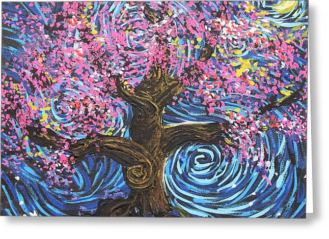 Squiggleism Greeting Cards - Pinky Tree Greeting Card by Stefan Duncan