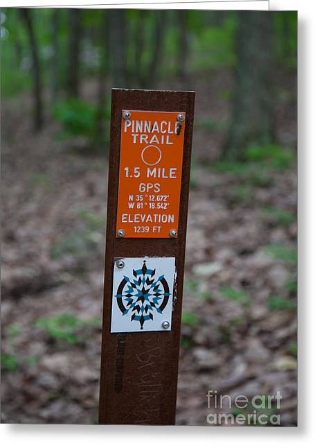 Gastonia Greeting Cards - Pinnacle Trail Marker Greeting Card by Andy Miller