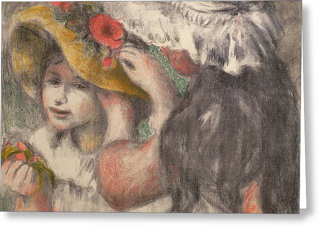 Renoir Greeting Cards - Pinning The Hat Greeting Card by Pierre Auguste Renoir