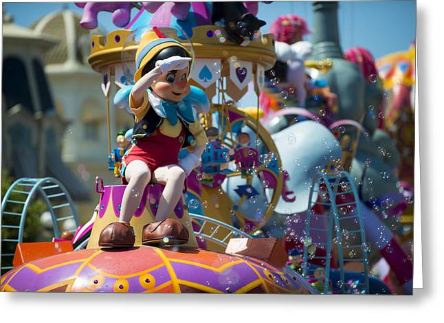 Main Street Greeting Cards - Pinocchio Disney World Greeting Card by Kevin Cable