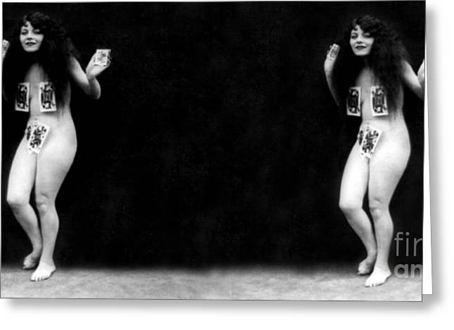 Racy Greeting Cards - Pinochle Girl, Nude Model, 1928 Greeting Card by Science Source