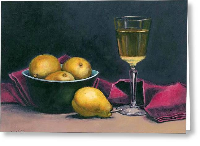 Greeting Cards - Pinot and Pears Still Life Greeting Card by Janet King