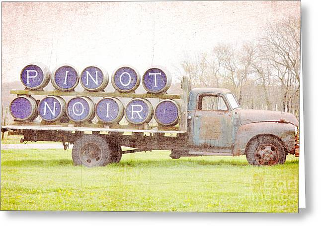 Pinot Noir Mixed Media Greeting Cards - Pinot Noir Wine Farm Truck Greeting Card by Anahi DeCanio - ArtyZen Studios
