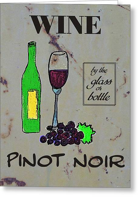 Glass Wall Drawings Greeting Cards - Pinot Noir Wine  Greeting Card by Priscilla Wolfe