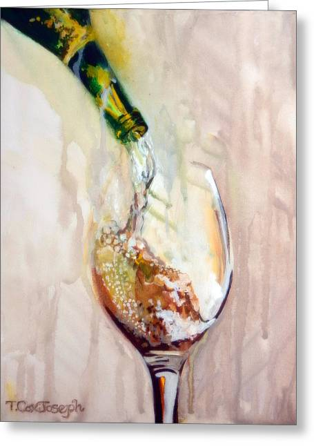 Wine Pour Paintings Greeting Cards - Pinot Pouring Greeting Card by Terry Cox Joseph