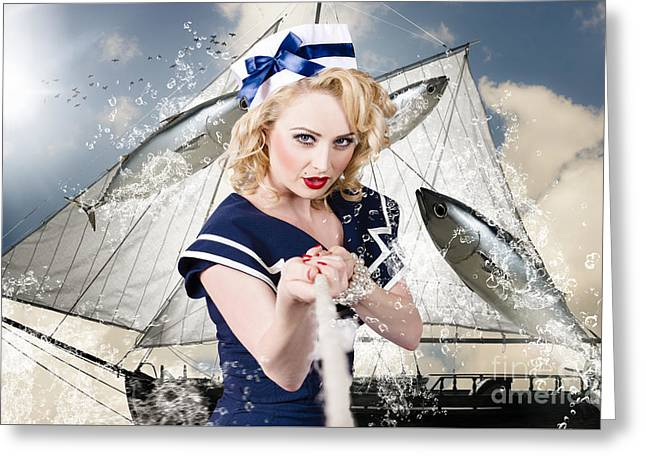Fishing Hat Greeting Cards - Pinup american military girl pulling sea anchor  Greeting Card by Ryan Jorgensen