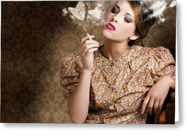 Pinup Portrait Of A Smoking Woman Blowing Hearts Greeting Card by Jorgo Photography - Wall Art Gallery