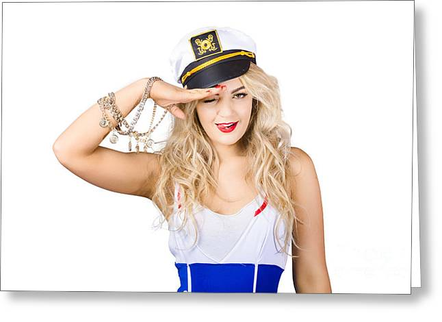 Pin-up Model Greeting Cards - Pinup Sailor woman saluting in captains hat Greeting Card by Ryan Jorgensen