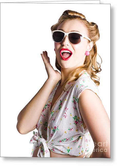 Announcer Greeting Cards - Pinup shouting out loud Greeting Card by Ryan Jorgensen