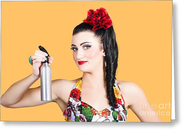 Hair Accessory Greeting Cards - Pinup woman holding a cleaning spray bottle Greeting Card by Ryan Jorgensen