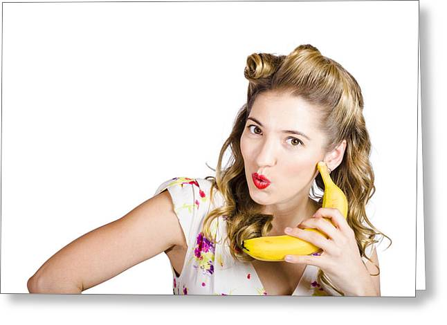 Whimsical. Greeting Cards - Pinup woman ordering organic fruit on banana phone Greeting Card by Ryan Jorgensen