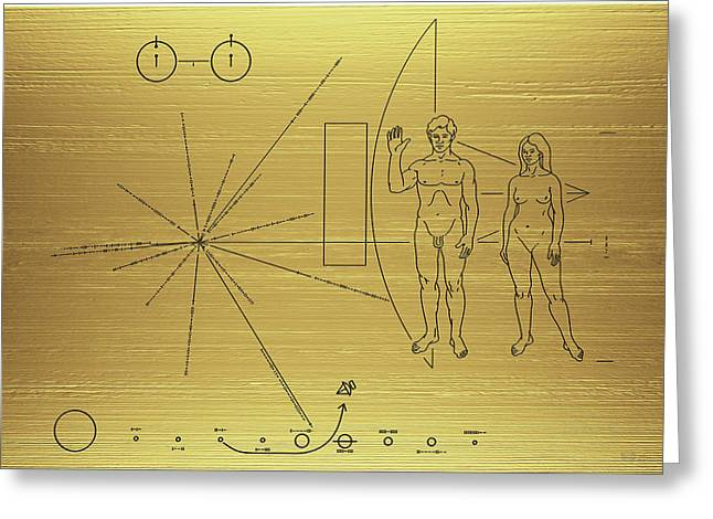 Pioneer 10-11 Golden Plaque Greeting Card by Serge Averbukh