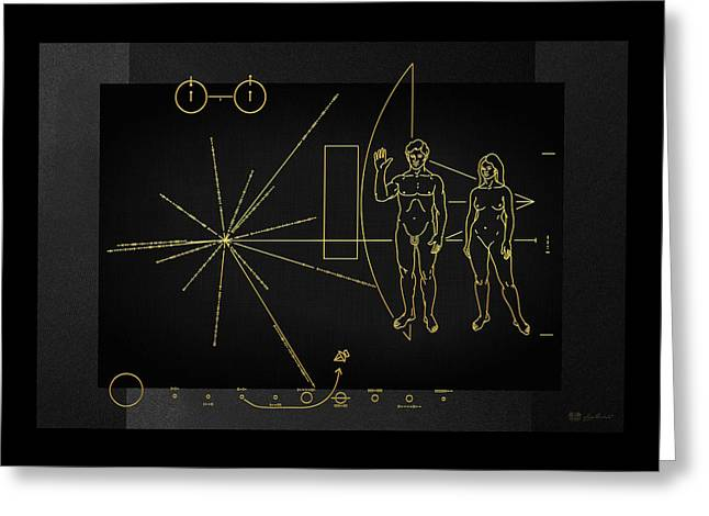 Pioneer 10-11 Plaque On Black Canvas Greeting Card by Serge Averbukh