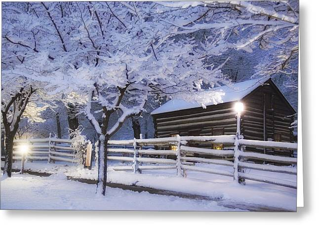 Pioneer Cabin At Christmas Time Greeting Card by Utah Images