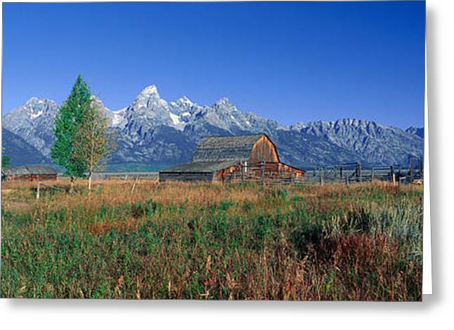 Old Barns Greeting Cards - Pioneer Farm, Grand Teton National Greeting Card by Panoramic Images