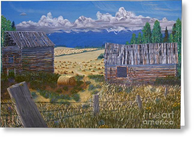 Hay Bales Greeting Cards - Pioneer Homestead Greeting Card by Stanza Widen