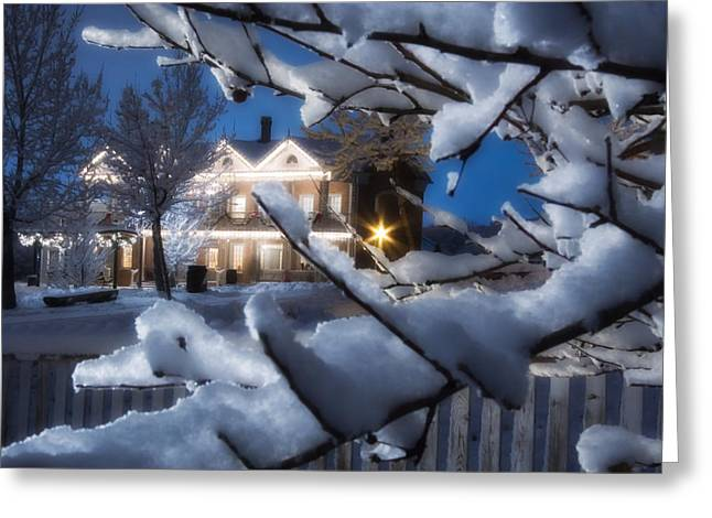 Snowy Night Night Greeting Cards - Pioneer Inn at Christmas Time Greeting Card by Utah Images