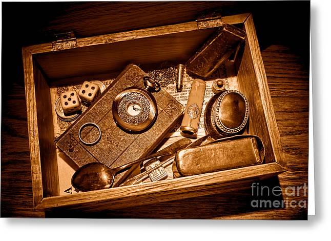 Pioneer Keepsake Box - Sepia Greeting Card by Olivier Le Queinec