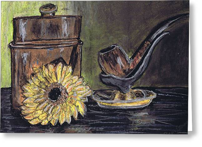 Flower Still Life Prints Greeting Cards - Pipe Brown Canister And Yellow Sunflower Flower Greeting Card by Samara Doumnande