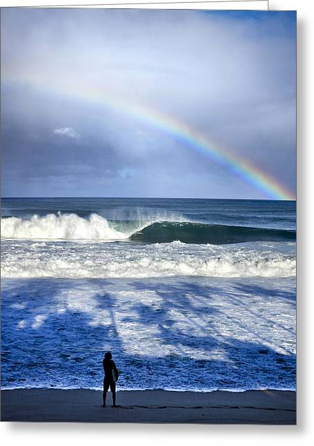 Big Wave Surfing Greeting Cards - Pipe Rainbow Palms Greeting Card by Sean Davey