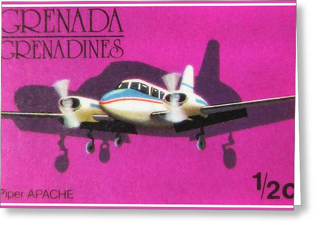 Paper Airplanes Paintings Greeting Cards - Piper Apache Airplane Greeting Card by Lanjee Chee