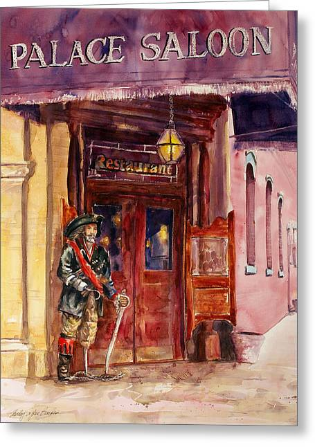 Saloons Greeting Cards - Pirate at the Palace Saloon Greeting Card by Shirley Sykes Bracken