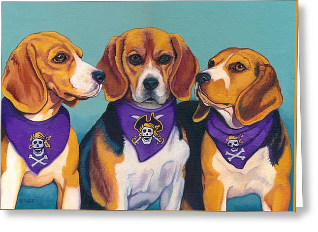 Buccaneer Paintings Greeting Cards - Pirate Beagles Greeting Card by Rebecca Ives
