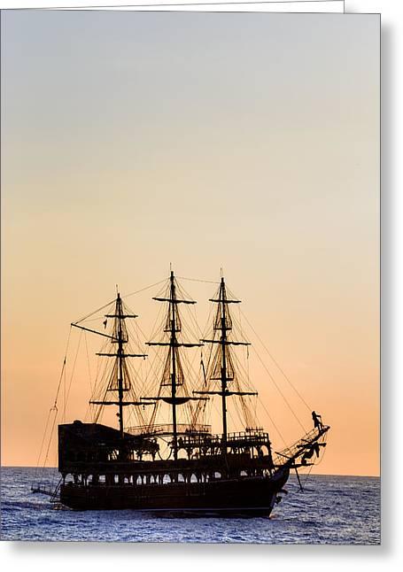 Pirate Boat Greeting Card by Joana Kruse
