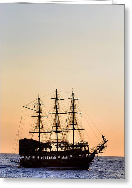 Pirate Ships Photographs Greeting Cards - Pirate Boat Greeting Card by Joana Kruse