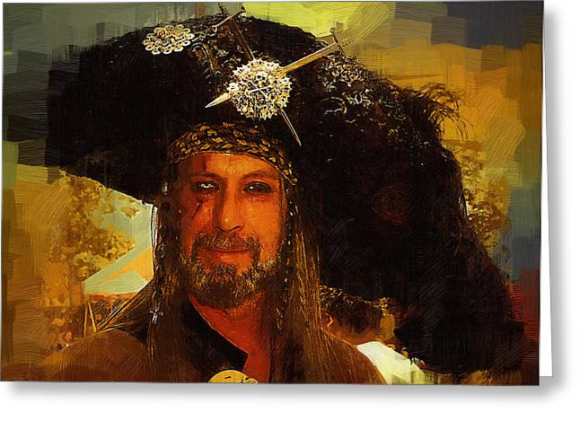 Buccaneer Paintings Greeting Cards - Pirate Greeting Card by Clarence Alford