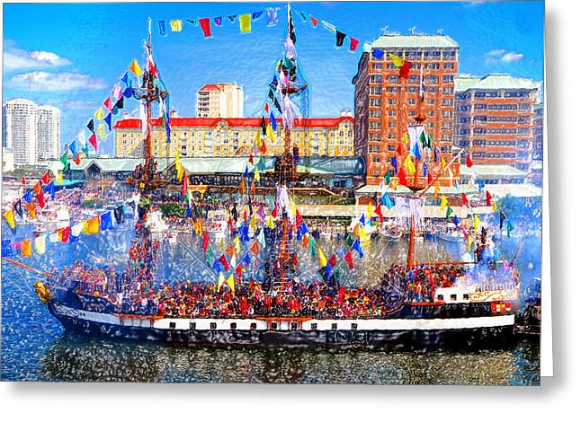 Pirate Ship Digital Greeting Cards - Pirate colors Greeting Card by David Lee Thompson