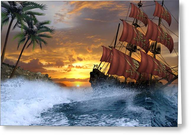 Pirate Ships Greeting Cards - Pirate Cove Greeting Card by Suzanne Amberson