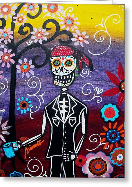 Sementeryo Greeting Cards - Pirate Dia de Los Muertos Greeting Card by Pristine Cartera Turkus
