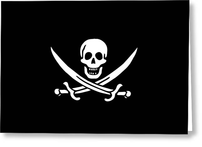 Pirate Flag Jolly Roger Of Calico Jack Rackham Tee Greeting Card by Edward Fielding