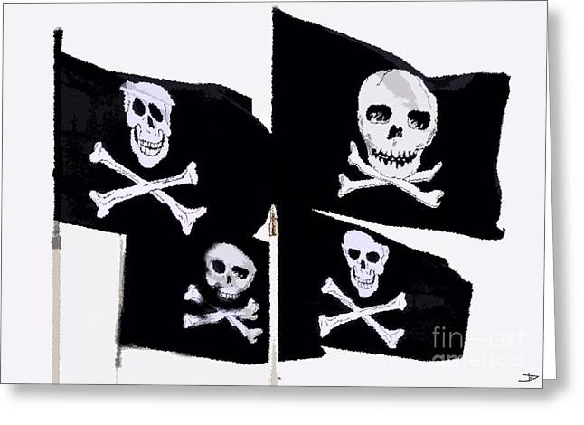 Pirates Of The Caribbean Greeting Cards - Pirate Flags Greeting Card by David Lee Thompson