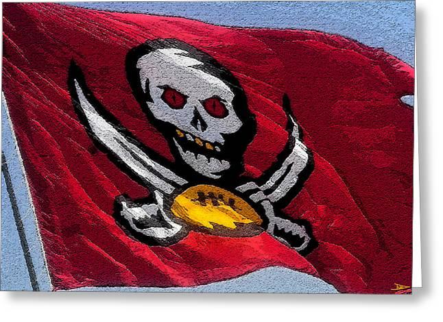 Buccaneer Digital Art Greeting Cards - Pirate Football Greeting Card by David Lee Thompson