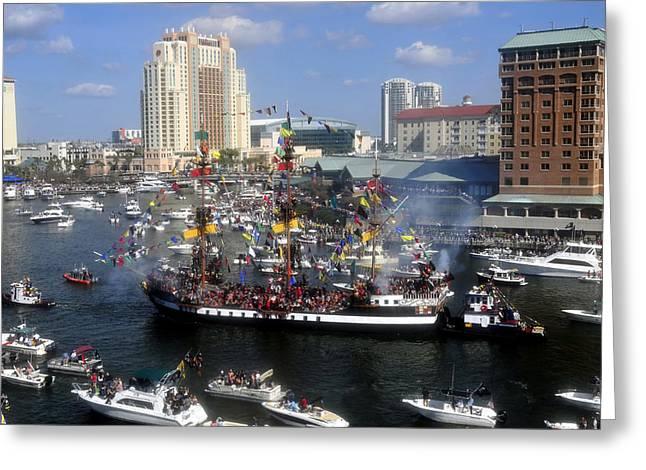 Pirate Invasion Tampa Bay  Greeting Card by David Lee Thompson