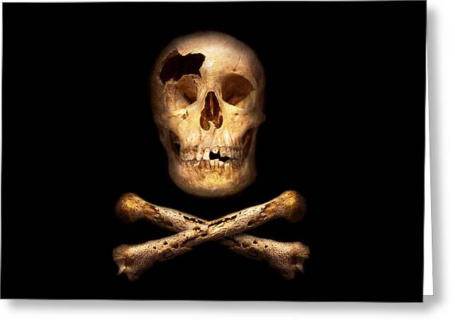 Buccaneer Greeting Cards - Pirate - Pirate Flag - Im a mighty pirate Greeting Card by Mike Savad
