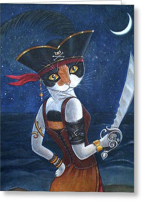 Buccaneer Paintings Greeting Cards - Pirate Queen Greeting Card by Fairy Tails Portraits