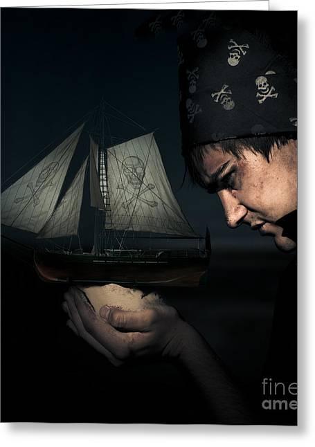 Buccaneer Greeting Cards - Pirate Greeting Card by Ryan Jorgensen