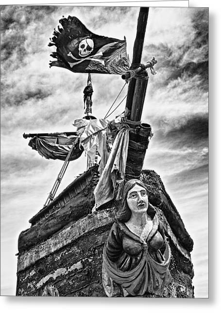 Wooden Sculpture Greeting Cards - Pirate ship and black flag Greeting Card by Garry Gay
