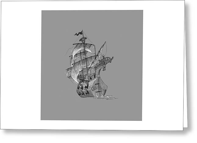 Pirate Ship Digital Greeting Cards - Pirate ship Greeting Card by Andy Catling