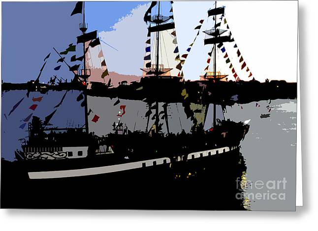 Pirate ship Greeting Card by David Lee Thompson