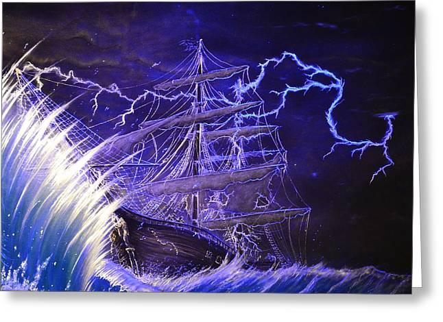 Tall Ships Greeting Cards - Pirate Ship  Greeting Card by Hank  Bufkin