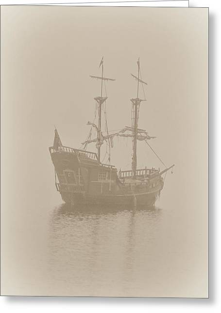Pirate Ships Greeting Cards - Pirate Ship In Sepia Greeting Card by Joy McAdams
