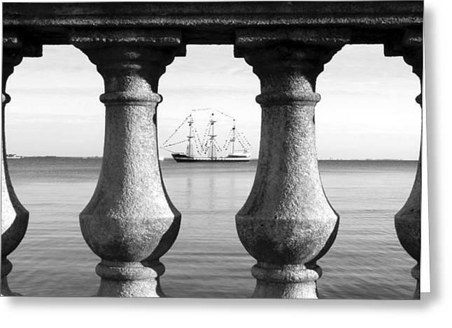 Pirate ship in the bay Greeting Card by David Lee Thompson